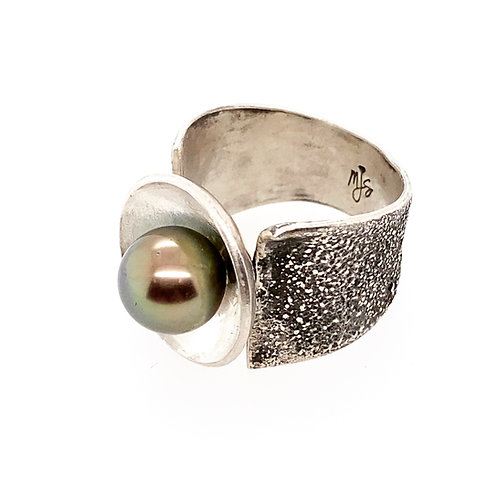 Dusted and Domed Tahitian Pearl Ring