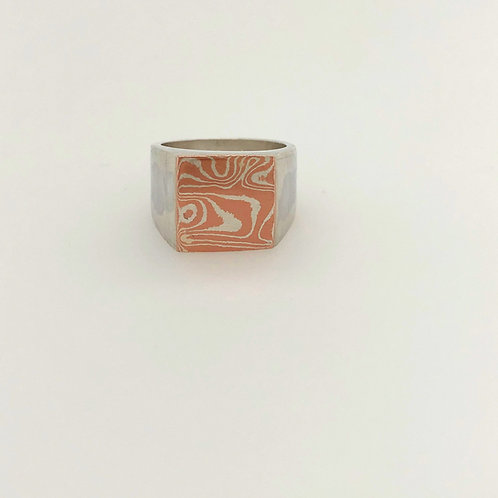 Mokume Gane Sterling Silver and Copper Box Ring