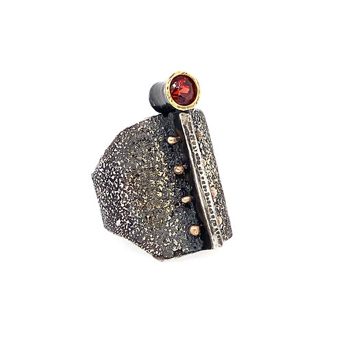Dust to Dust Argentium and Gold Garnet Ring