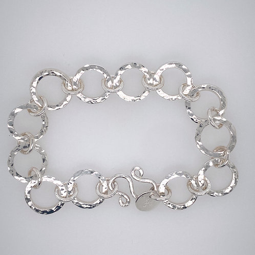 Sterling silver Circle textured bracelet
