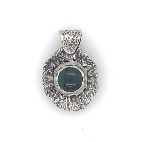 Reticulated silver and Argentium Textured pendant with 12mm Aquaprase