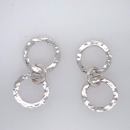 Sterling Silver double textured Circle earrings