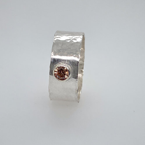 Hammered textured Sterling Silver Tube Bezel Ring with Champagne CZ