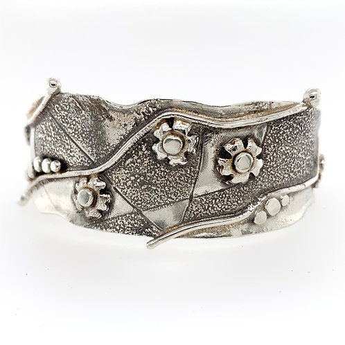 """Fused and Dusted 1.25""""wide  Argentium Silver Cuff"""