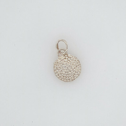 Granulated Domed Fine Silver Pendant