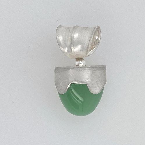 Serpentine Green Bullet Stone Pendant Sterling Silver