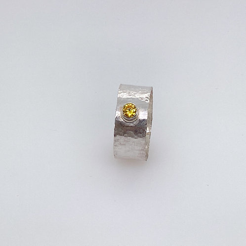 Hammered texture tube set Sterling Silver bezel ring with yellow CZ
