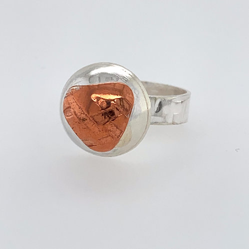 Covid textured Copper and Sterling Silver Ring