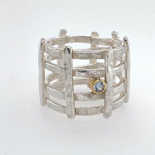 Organic Textured Sterling Silver Criss Cross Ring with 18k gold bezel