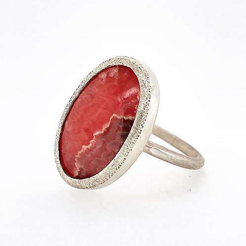Red Rhodochrosite chunky Bezel Ring