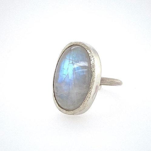 Rainbow Moonstone Chunky Bezel Ring
