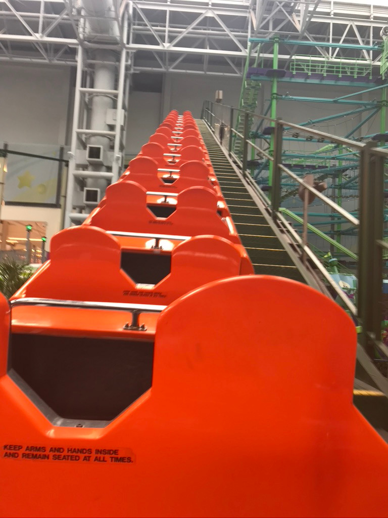 Roller coaster in Nickelodeon Universe in Minneapolis shown a s metaphor for an emotional roller coaster during Covid.