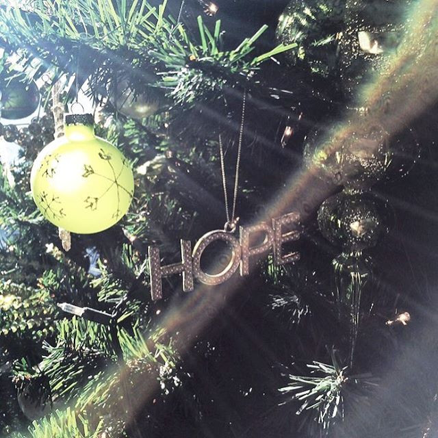 Hope ornament on our Christmas tree