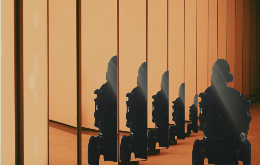 ID: Silhouette of Cristina in a wheelchair in an eerie room of mirrors. Cristina's reflection is repeated in every mirror.
