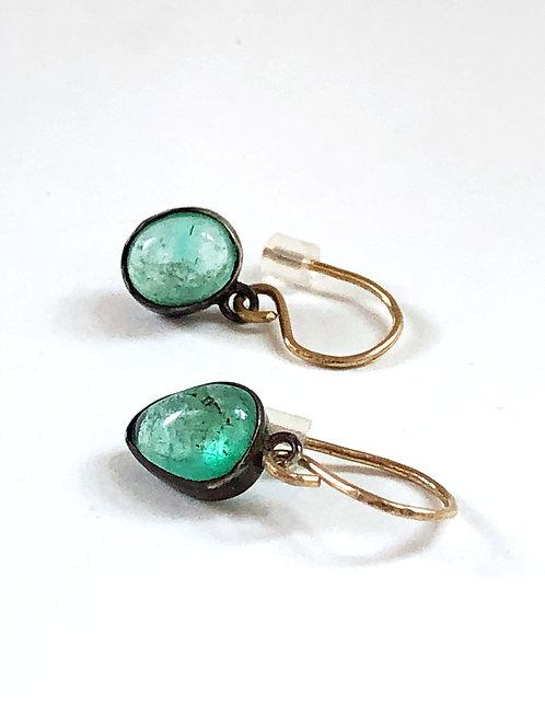 Emerald Cabochon Earrings