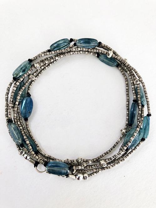 Kyanite & Silver Bead Necklace