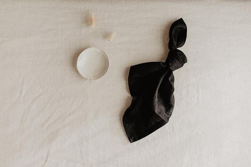 100% Linen Napkin, Black
