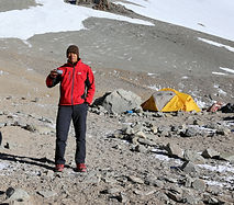 Aconcagua Expedition Camp 1 - Ray's enjoying his cup of coffee.