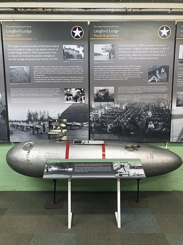 Second World War aircraft' fuel tank within the Ernie Cromie BEM room at the Ulster Aviation Society. Image: Mark J. Cairns