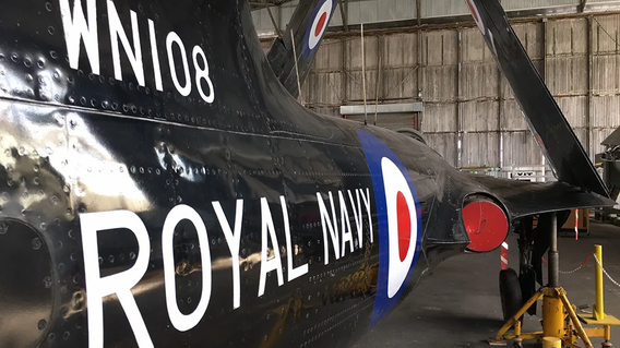 Rear side view of the Hawker Sea Hawk FB.5 WN108 in the Ulster Aviation Society's hangar