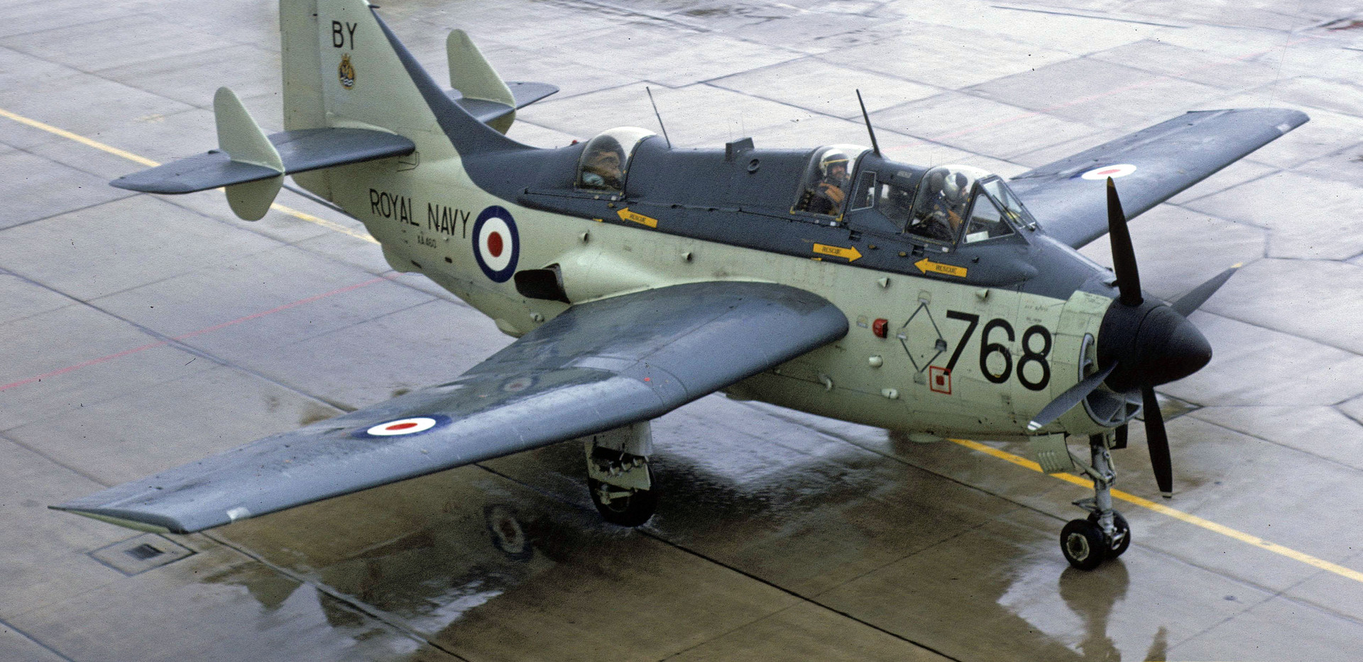 Fairey Gannet XA460 with its 1967 code of 768/BY when it was assigned to 849HQ flight at Brawdy.