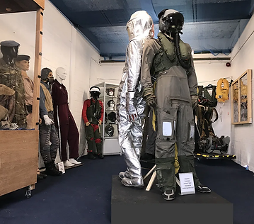 Aircrew Life Support Room flightsuits and helmets collection at the Ulster Aviation Society