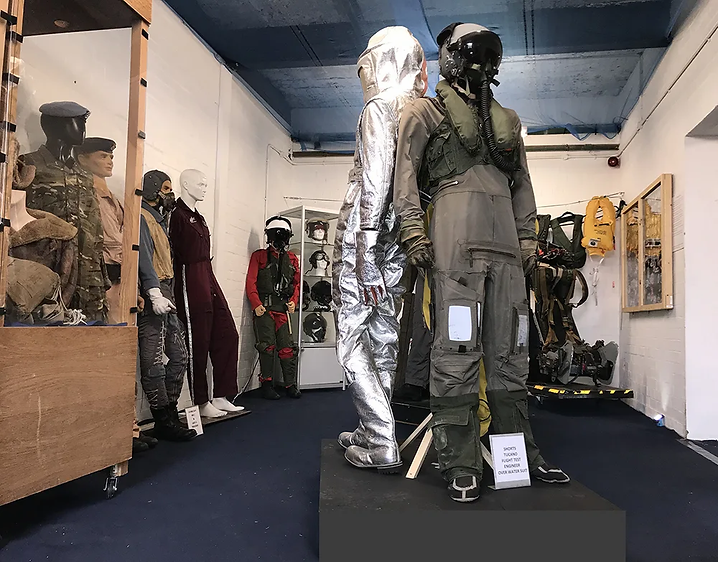 Extensive range of Flightsuits, survival and safety suits in the UAS' Aircrew Life Support annex room. Image: Mark J. Cairns