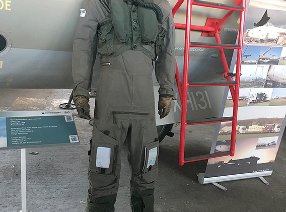 Canberra PR9 pilot mannequin beside the aircraft at the Ulster Aviation Society. Image: Mark J. Cairns