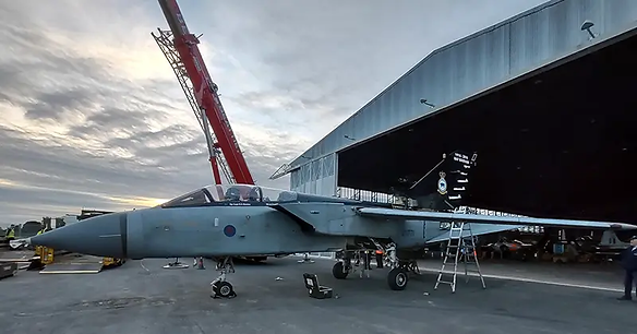 Tornado GR.4 ZG771 after its first day of re-assembly in Sept 2021 by the RAF JARTS team