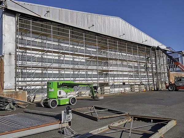 Exterior view of the UAS hangar 1 door restoration - Feb 2021.  Image: Ray Burrows