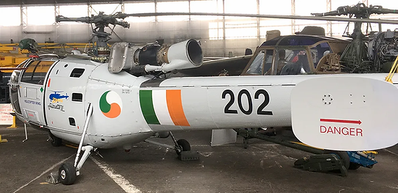 """Rear view of the Ulster Aviation Society's SA316 Alouette III helicopter (""""202"""")"""