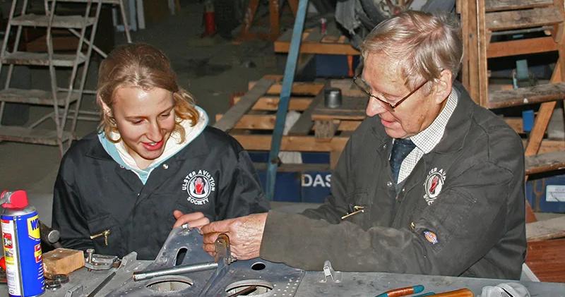 Hangar Volunteers working on the Fairey Gannet