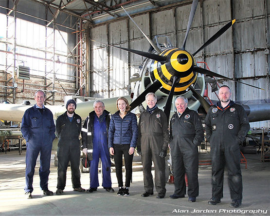 Fairey Gannet XA460 Restoration Team (2019) at the Ulster Aviation Society —  [L-R]: Lloyd Pollock, Stephen Hegarty, David Jackson [team lead], Anne McIlveen, Alan Moller, Billy McCall and David Mellon.  Many other volunteers who've worked on the project are not pictured. Image: Alan Jarden
