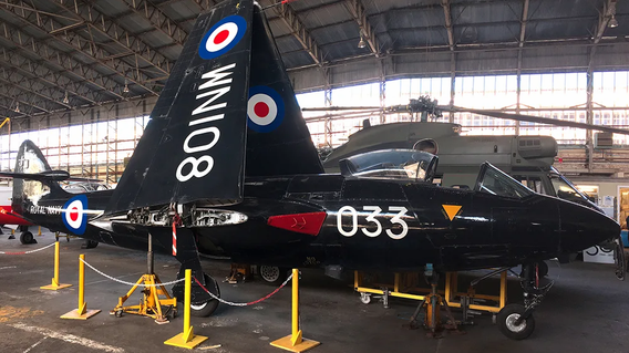 Side view of the Hawker Sea Hawk FB.5 WN108 in the Ulster Aviation Society's hangar