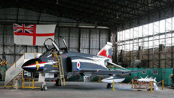 "Phantastic hero shot of the Phantom FG.1 ""007"" showing off its new 2018 Fleet Air Arm colours, within Hangar 2 at Maze Long Kesh."