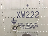 Fuel decals on the panels of the Puma HC1 Helicopter XW222 at Maze Long Kesh, Lisburn