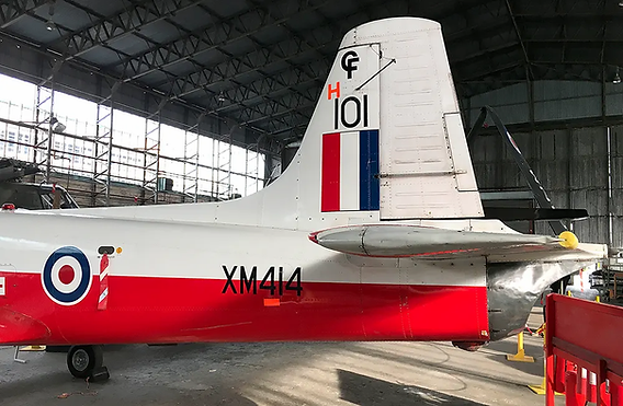 Tail plane of the BAC Jet Provost T3A XM414 in the Ulster Aviation Society' Hangars