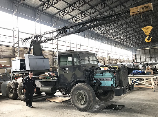 Thorneycroft Amazon Coles Crane having just been moved by hangar volunteer, Gary Millington, who is currently restoring it at the Ulster Aviation Society