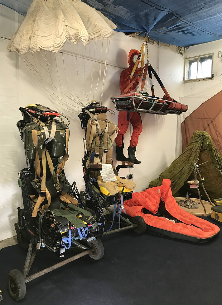 Some of the Martin-Baker ejection seats and their survival gear in the Ulster Aviation Society's  Aircrew Life Support room. Image: Mark J. Cairns