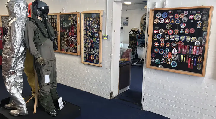 Extensive range of survival and flight suits, as well as rare military patches in the Ulster Aviation Society's Aircrew Life Support Room