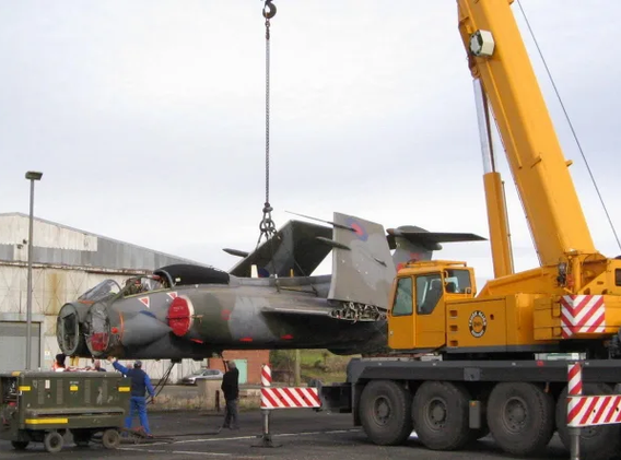Blackburn Buccaneer XV361 being lifted off the low-loader after its journey from Langford Lodge to MLK