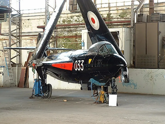 Hawker Sea Hawk FB.5 at the MLK hangars after its move from Langford Lodge