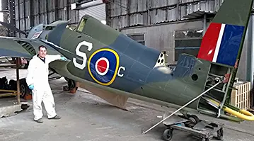 """Wildcat FM-1 """"JV482"""" vintage fighter aircraft at the Ulster Aviation Society"""