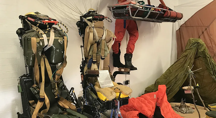 Some of the Martin-Baker ejection seats and their survival gear in the Ulster Aviation Society's  Aircrew Life Support room. [Image: Mark J. Cairns]