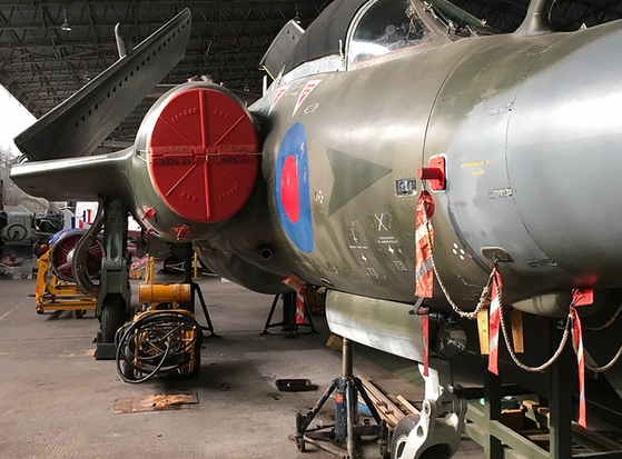 Front section view of Blackburn Buccaneer S.2B XV361 in the main hangar at the Ulster Aviation Society