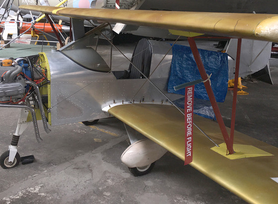 Aerosport Scamp inside the Ulster Aviation Society's main hangar 2019 before its repaint