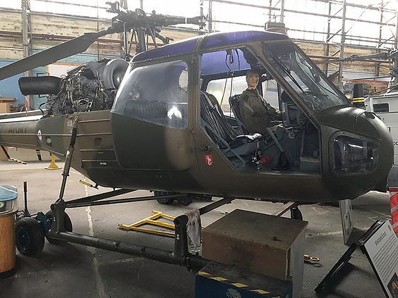 Westland Scout helicopter – XV136 — in the Ulster Aviation Society's main hangar