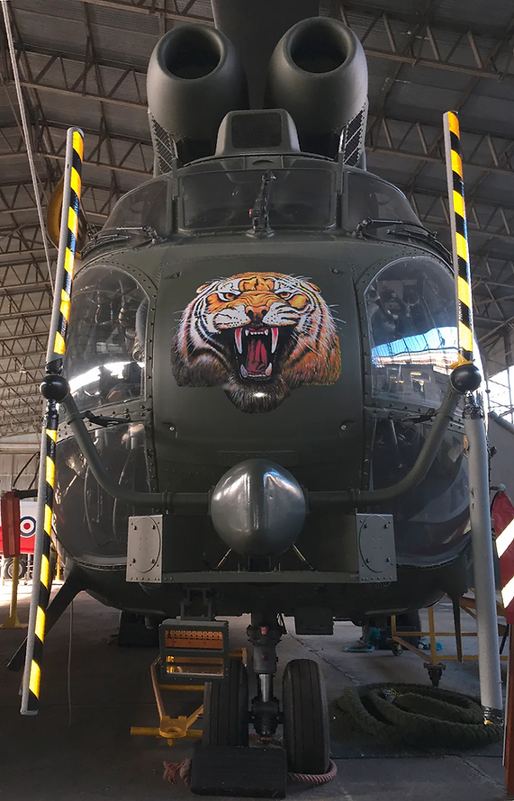 The amazing nose art on Puma HC1 Helicopter XW222 at the Maze Long Kesh hangar of the Ulster Aviation Society