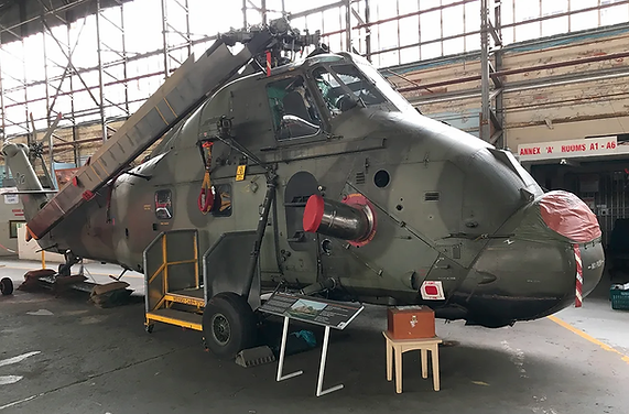Main profile of the Westland Wessex HC.2 — XR517 in hangar 1 at the Ulster Aviation Society in Maze Long Kesh