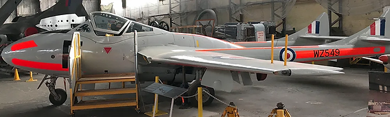 deHavilland Vampire T11 WZ549 in the Ulster Aviation Society hangars. Image: Mark J. Cairns